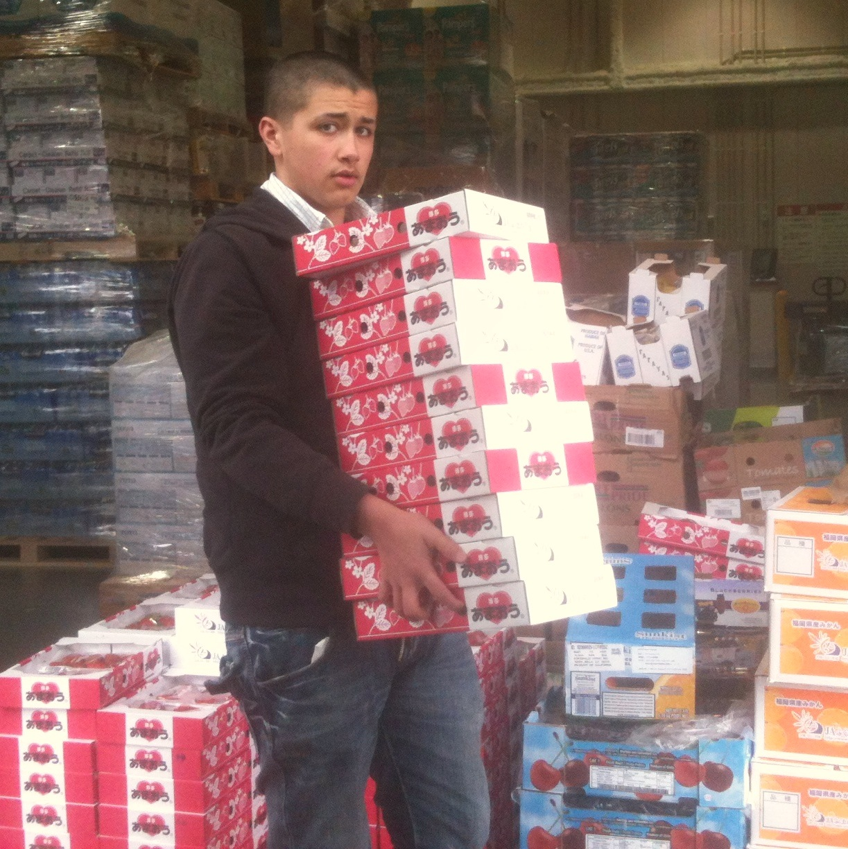 Joey loading donated strawberries for Kozmoz Kansai Food Bank distribution to Kyoto Orphanages